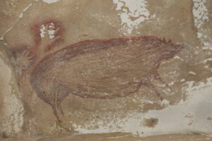 Pintura rupestre de um javali